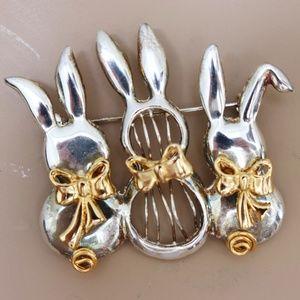 SUPER UNIQUE Bunny Brooch. Three's a Charm.